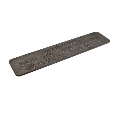 Joe's Motor Pool Combat Rim Warning Plate For Ford GPW & Willys MB